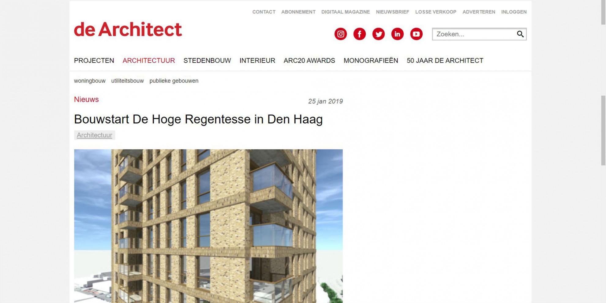 Start bouw van De Hoge Regentesse in Den Haag